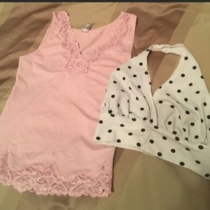 Pink sheer Lacey tank top